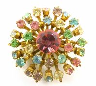 Vintage Atomic style Fruit Salad Rhinestone Brooch.